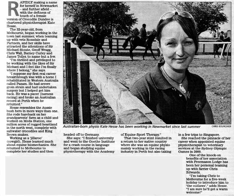 Racing Post magazine - Kate Hesse, equine physiotherapist